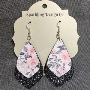 Floral & Black Sparkle Earrings